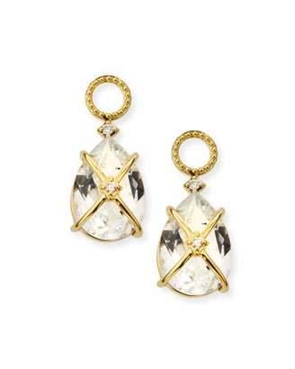 Jude Frances 18k Lisse Tiny Criss Cross Earring Charms, White Topaz