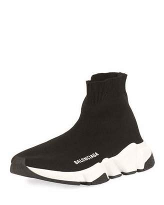 Balenciaga Stretch-Knit High-Top Trainer, Noir