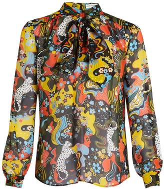 Mary Katrantzou Veddar tie-neck silk-chiffon blouse