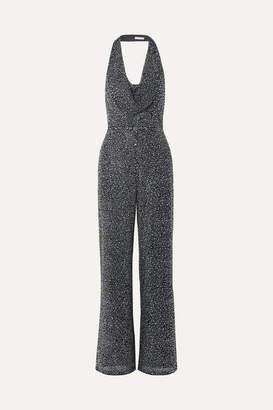 Alice + Olivia Alice Olivia - Salem Draped Crystal-embellished Stretch-crepe Halterneck Jumpsuit - Black