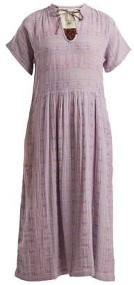 Ace&Jig Merrit Geometric Jacquard Tie Neck Dress - Womens - Purple Multi