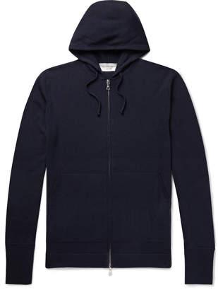 Officine Generale Virgin Wool Zip-Up Hoodie - Men - Blue