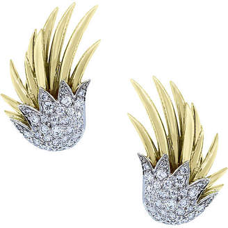 One Kings Lane Vintage Two-Tone Gold & Diamond Earrings