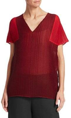 Issey Miyake Bi-Color Wooly Pleated Top