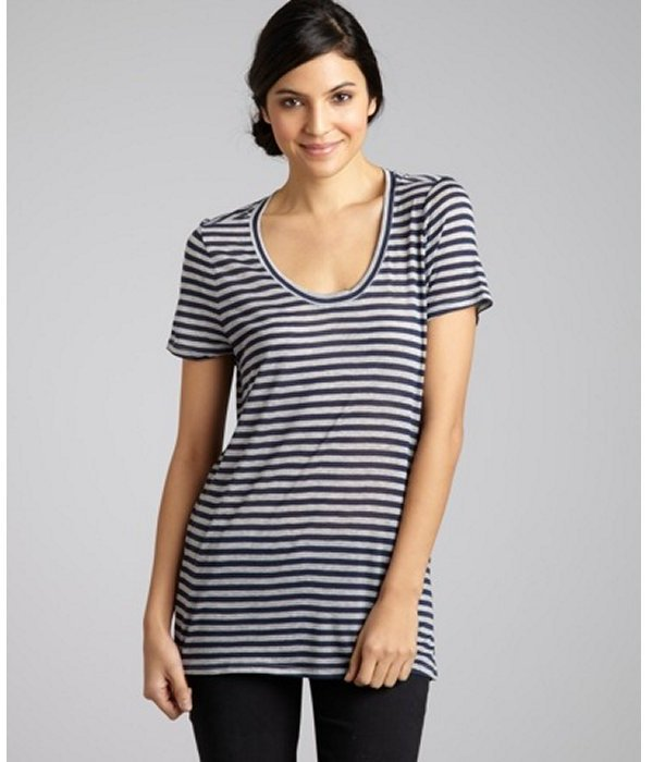Three Dots blue and grey striped jersey scoop neck t-shirt