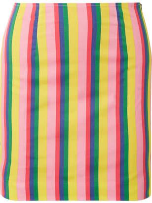 STAUD - Panda Striped Stretch-cotton Poplin Mini Skirt - Yellow