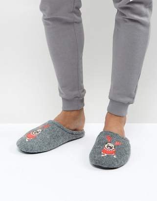 Asos DESIGN Slip On Slippers In Gray With Holidays Pug Embroidery