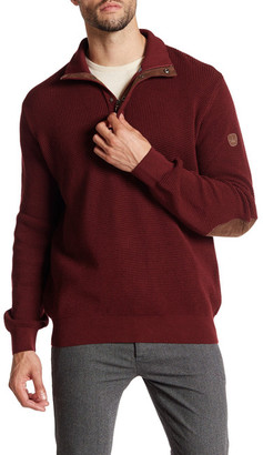 English Laundry 1/4 Leather Pull Zip Faux Suede Elbow Patch Pullover $150 thestylecure.com