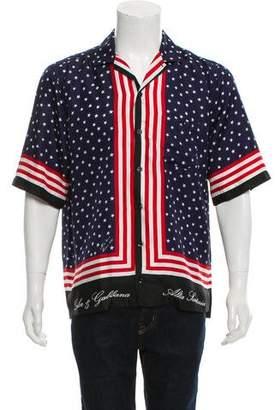 Dolce & Gabbana Silk American Flag Print Shirt w/ Tags