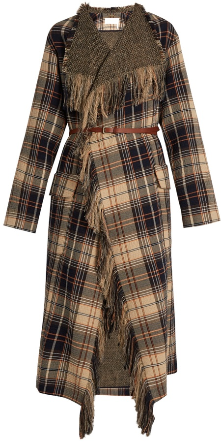 Chloé CHLOÉ Fringed wool and cotton-blend tartan coat