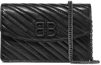 Balenciaga Bb Quilted Textured Patent-leather Shoulder Bag - Black
