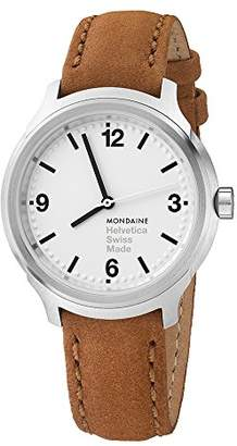 Mondaine Men's 'Helvetica' Swiss Quartz Stainless Steel and Leather Casual Watch