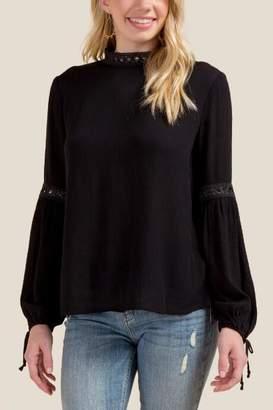 Beverly Crochet Mock Neck Blouse - Black