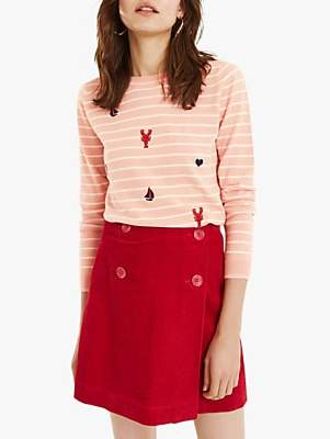 Oasis Ahoy Stripe Embroidered Jumper, Multi Pink