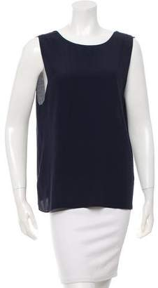 Veda Sleeveless Leather-Trimmed Top
