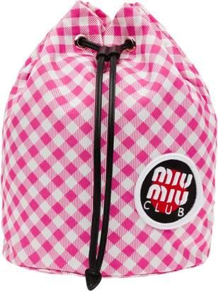 Miu Miu checked vichy drawstring bag