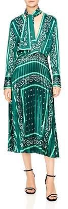 Sandro Cactus Bandana Print Pleated Midi Dress