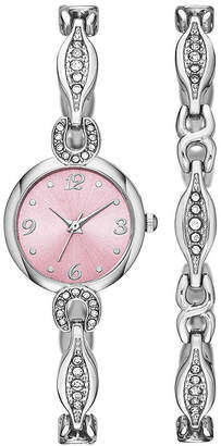 FASHION WATCHES Womens Crystal Dainty Glitz Watch and Bracelet Set