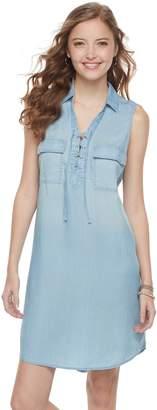 So Juniors' SO Lace-Up Chambray Shirt Dress