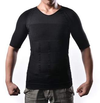 AGPtek Men's Body Shaper For Men Slimming Shirt Tummy Waist lose Weight Compression Shirt Size: M