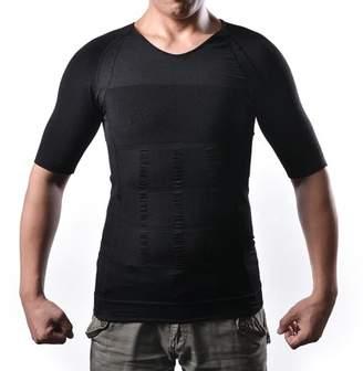 AGPtek Men's Body Shaper For Men Slimming Shirt Tummy Waist lose Weight Compression Shirt Size: L