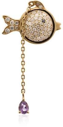 Leon Yvonne hanging diamond fish 18K gold earring