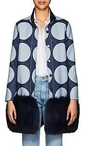 Lisa Perry Women's Reversible Fur-Trimmed Wool Coat - Blue