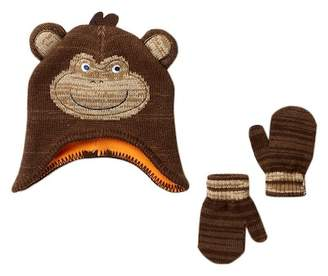 Little Me Knit Monkey Hat & Mittens Set
