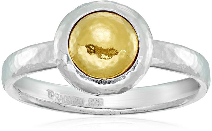 "Gurhan Amulet"" Sterling Small Round Vermeil Amulet Ring, Size 7"