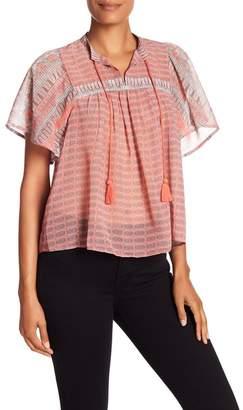 Lucky Brand Short Sleeve Print Peasant Top