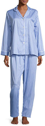 P Jamas Haberdashery Long-Sleeve Pajama Set, Blue/White