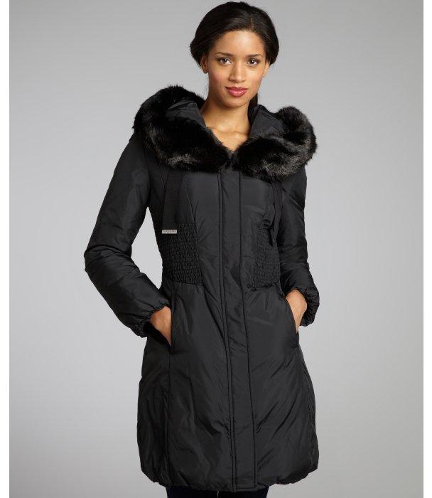 Tahari black 'Nina' faux fur trim hooded coat