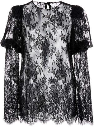 Monique Lhuillier Long Sleeve Lace Cotton-Blend Blouse
