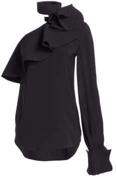 Oscar de la Renta Women's Cold Shoulder Tie-Neck Blouse - Black - Size 10