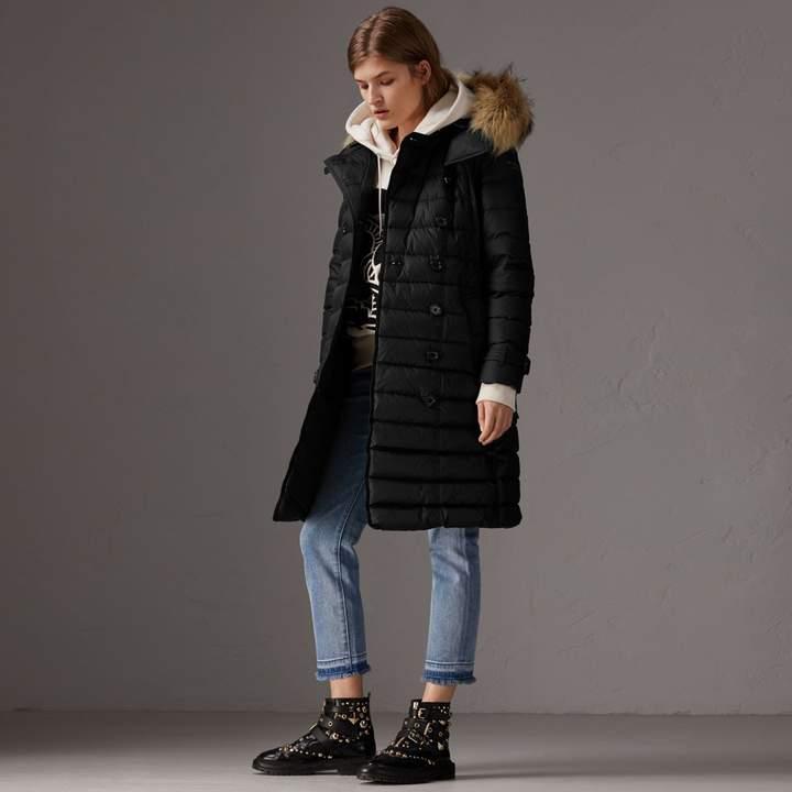 Burberry Detachable Hood Fur Trim Down-filled Puffer Coat