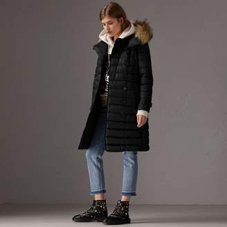 Burberry Detachable Hood Fur Trim Down-filled Puffer Coat