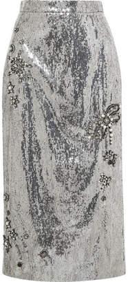 Erdem Sacha Embellished Sequined Georgette Skirt - Silver