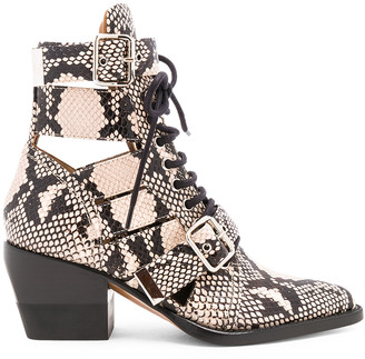 Chloé Rylee Python Print Leather Lace Up Buckle Boots