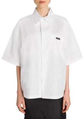 Prada Oversize Short Sleeve Cotton Shirt