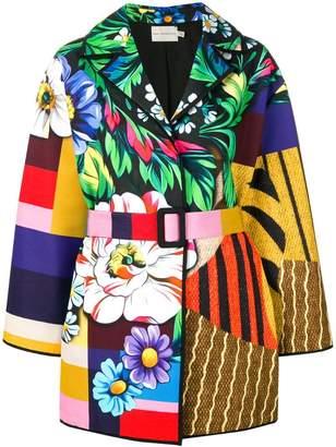 Mary Katrantzou patchwork belted coat