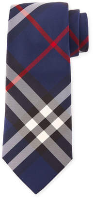 Burberry Manston Modern-Cut Check Silk Twill Tie, Navy
