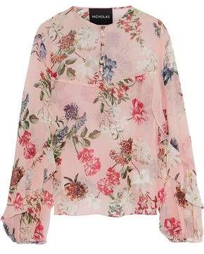 Nicholas Ruffle-Trimmed Floral-Print Silk-Georgette Blouse