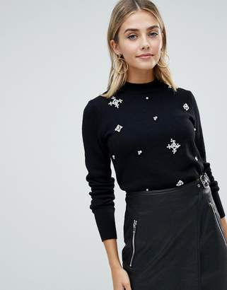Fashion Union High Neck Sweater With Embellishment
