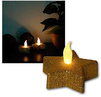 Star LED-Table decoration Tealight, golden star, 2 pieces, flickering, incl. batteries blister with