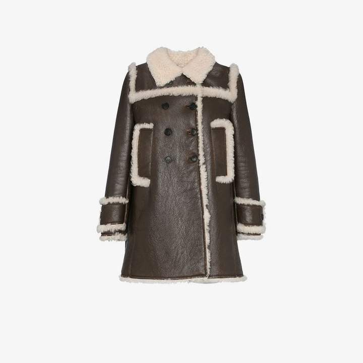 shearling trimmed leather coat