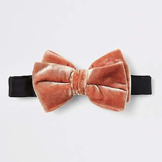 River Island Pink velvet bow tie
