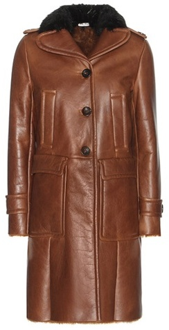 Miu Miu Miu Miu Lamb fur-lined leather coat with fur collar