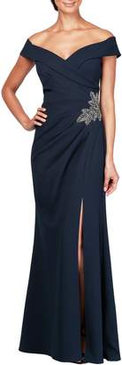 Alex Evenings Off-the-Shoulder Bead Detail Evening Dress