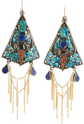 Devon Leigh Turquoise, Lapis & Coral Triangle Fringe Earrings