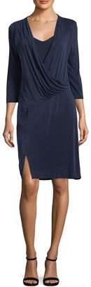 Three Dots Women's Draped Wrap Dress